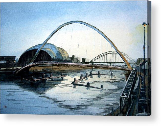 Bridge. River. Tyne. Newcastle. England. Uk. Acrylic Print featuring the painting Millenium Bridge. Newcastle Upon Tyne. by John Cox