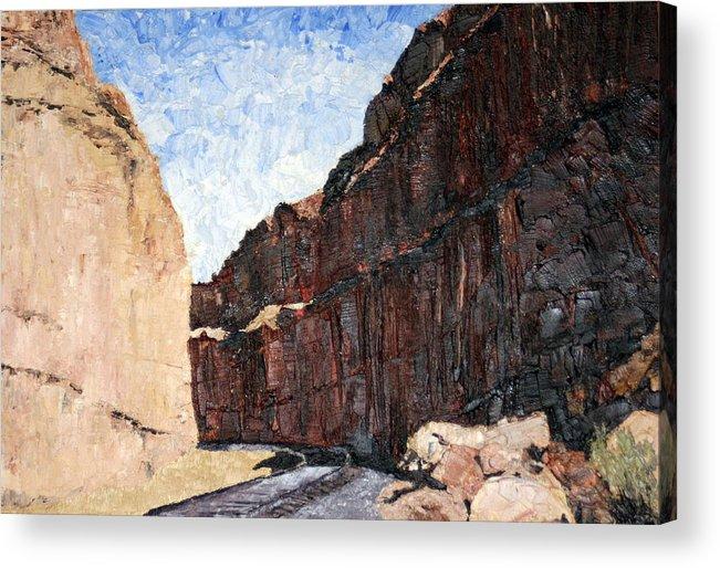 Train Tracks Acrylic Print featuring the painting Moab Train Tracks by Nila Jane Autry