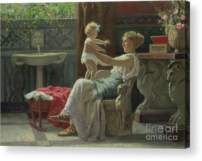 Baby; Roman; Fountain; Interior; Classicising; Classical; Antique; Scene; Mother; Child; Cradle; Maternal; Maternity; Love; Family; Smile; Laughing; Playing; Ribbon Acrylic Print featuring the painting Mother's Darling by Zocchi Guglielmo