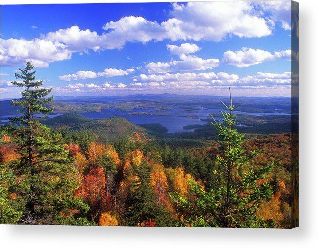 New Hampshire Acrylic Print featuring the photograph Mount Morgan Squam Lake Foliage by John Burk