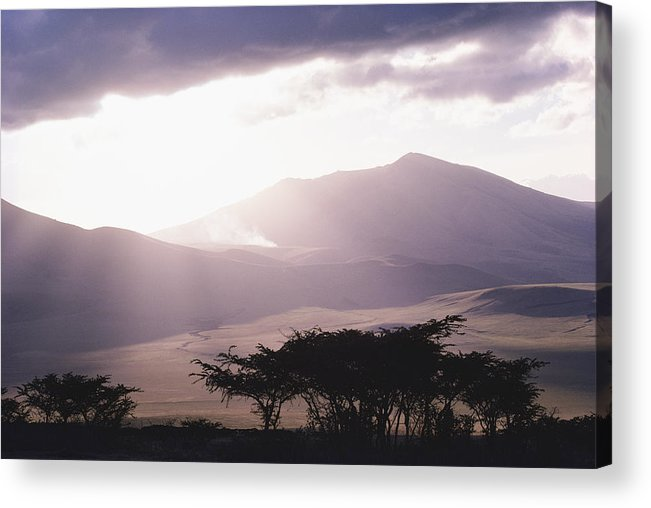 Africa Acrylic Print featuring the photograph Mountains And Smoke, Ngorongoro Crater by Skip Brown