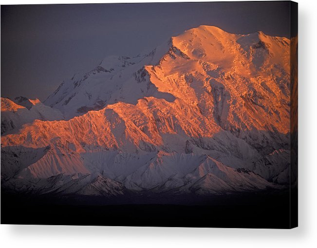 Denali National Park Acrylic Print featuring the photograph Mt. Mckinley Sunset by Sandra Bronstein