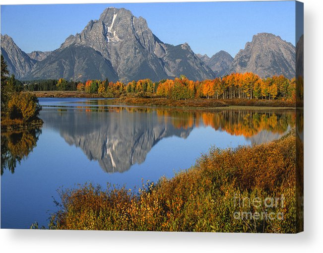 Grand Teton Acrylic Print featuring the photograph Mt. Moran Fall Reflection by Sandra Bronstein