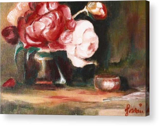 Flower Still Life Artwork Roses Acrylic Print featuring the painting My Little Flowers by Jordana Sands