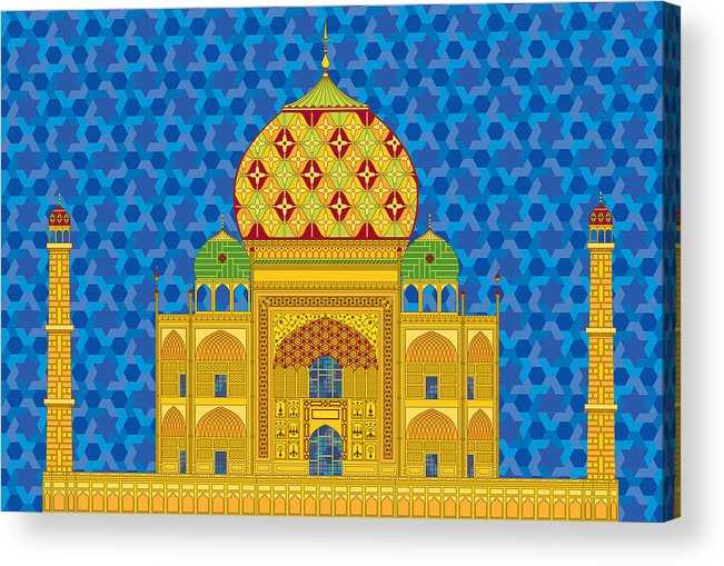 Taj Mahal Acrylic Print featuring the digital art My Taj Mahal by Vlasta Smola