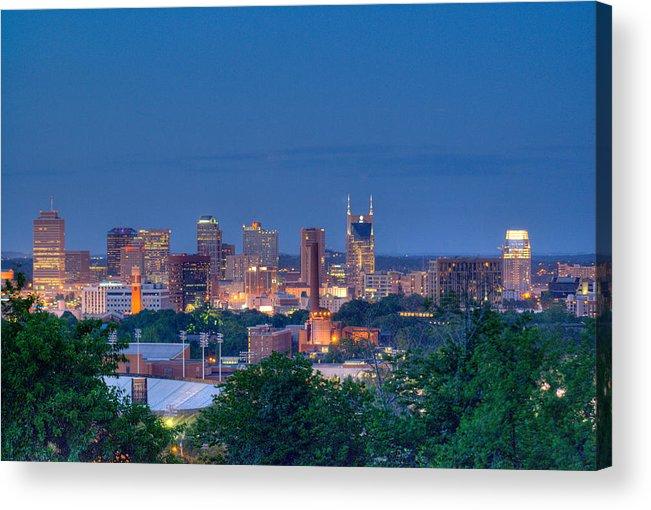 Nashville Acrylic Print featuring the photograph Nashville By Night 1 by Douglas Barnett