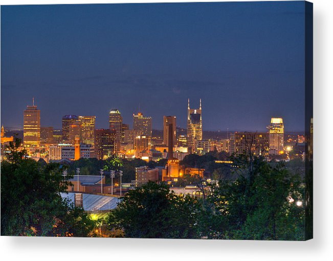 Nashville Acrylic Print featuring the photograph Nashville By Night 2 by Douglas Barnett