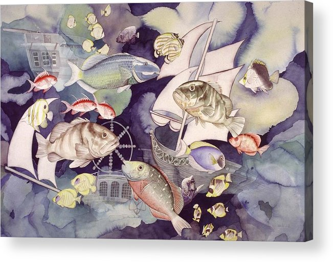 Sealife Acrylic Print featuring the painting Nautical Players by Liduine Bekman