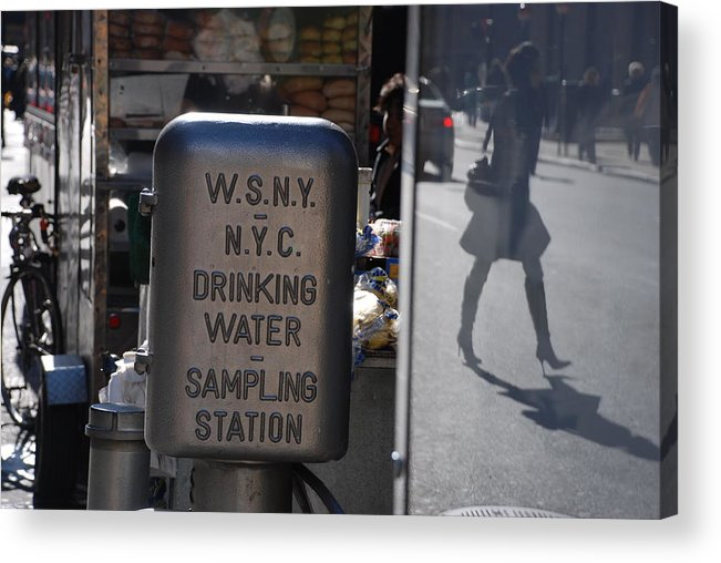 Street Scene Acrylic Print featuring the photograph Nyc Drinking Water by Rob Hans