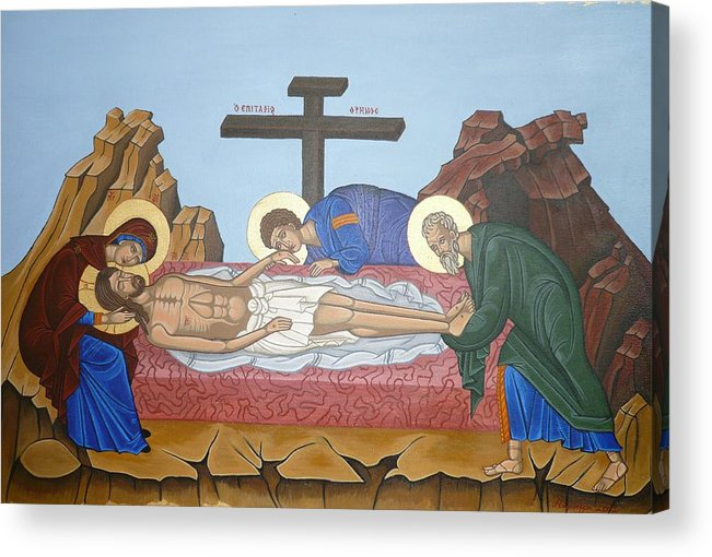 Marinella Owens Acrylic Print featuring the painting O Epitafos Jesus by Marinella Owens
