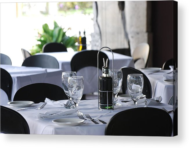 Tables Acrylic Print featuring the photograph Oils And Glass At Dinner by Rob Hans