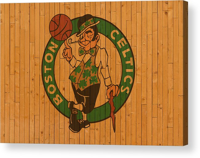 Old Acrylic Print featuring the mixed media Old Boston Celtics Basketball Gym Floor by Design Turnpike