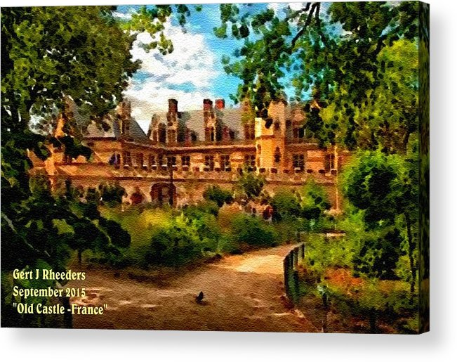 Art Acrylic Print featuring the painting Old Castle - France H A by Gert J Rheeders