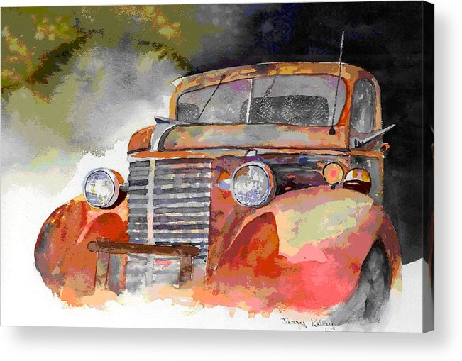 Truck Acrylic Print featuring the painting Old Truck by Jerry Kelley