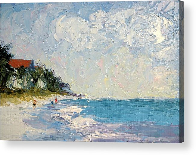 Seascape Acrylic Print featuring the painting On The Beach by Colleen Murphy
