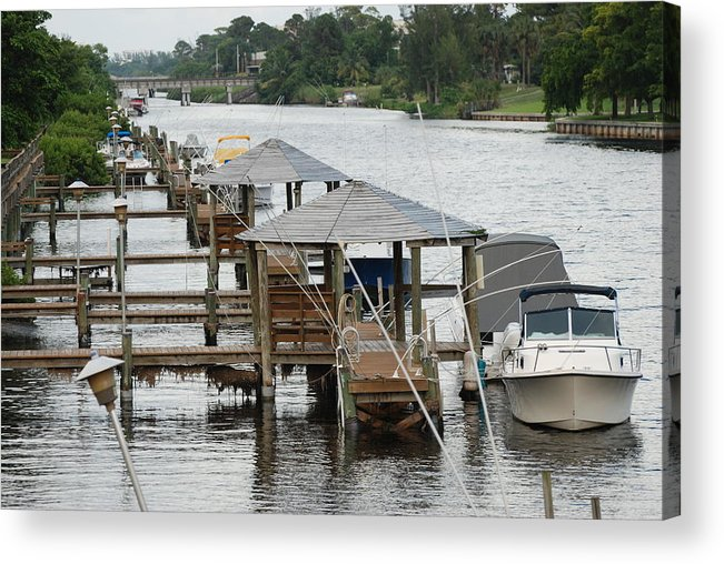 Boats Acrylic Print featuring the photograph On The Hillsboro Canal by Rob Hans