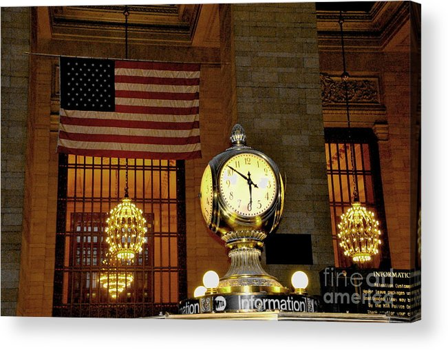 New York Acrylic Print featuring the photograph Opal Atomic Clock At Grand Central by Jacqueline M Lewis