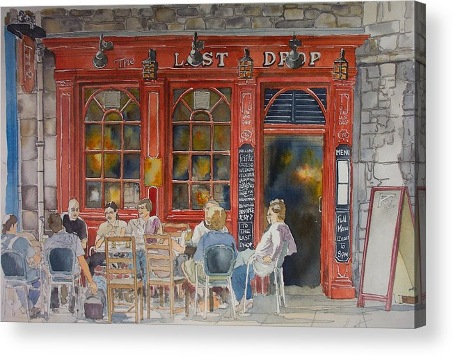 Pub Acrylic Print featuring the painting Out For A Pint by Victoria Heryet