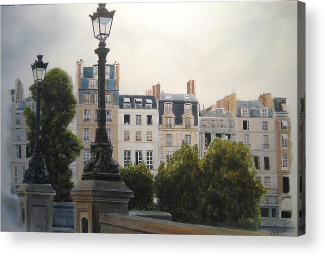 Paris Acrylic Print featuring the painting Paris Stroll by Victoria Heryet
