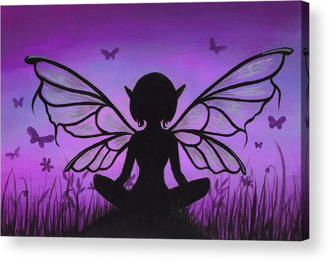 Fantasy Fairy Acrylic Print featuring the painting Peaceful Meadows by Elaina Wagner
