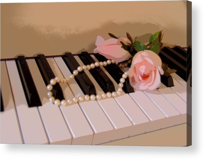 Still Life Acrylic Print featuring the photograph Pearly Pink Keys by Florene Welebny