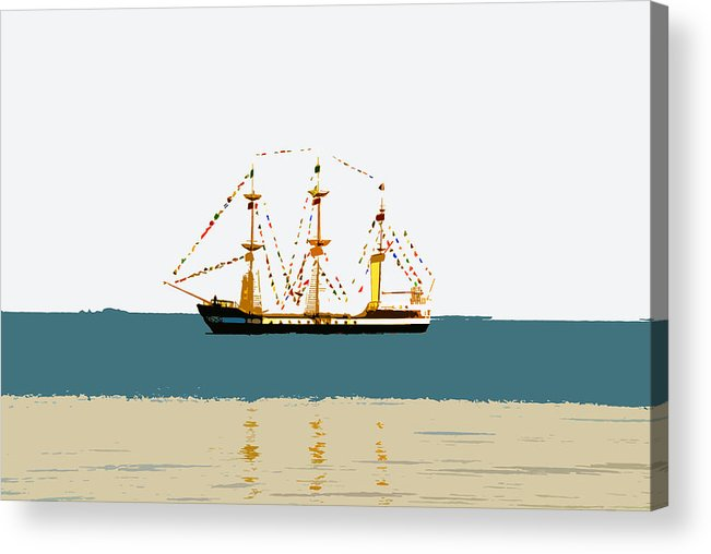 Pirate Ship Acrylic Print featuring the painting Pirate Ship On The Horizon by David Lee Thompson