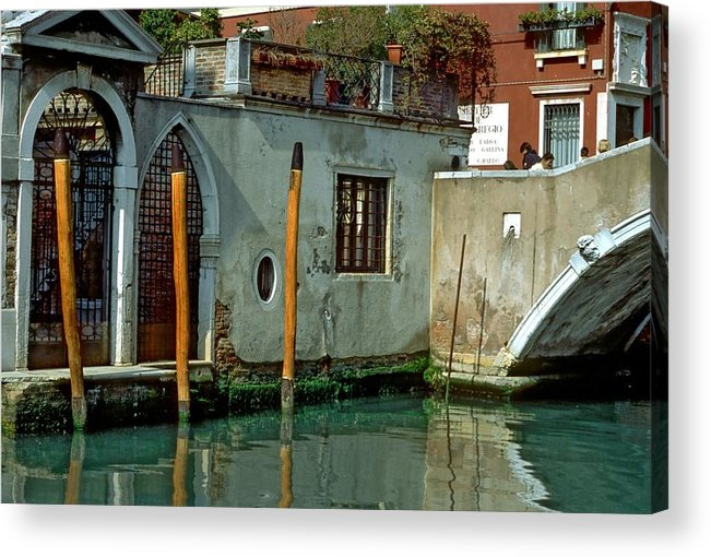 Venice Acrylic Print featuring the photograph Poles On Canal In Venice by Michael Henderson