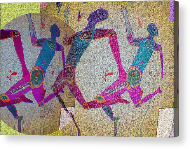 Human Composition Acrylic Print featuring the digital art Racing by Noredin Morgan