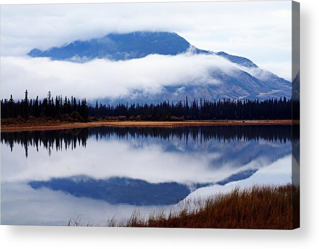 Athabasca River Acrylic Print featuring the photograph Rainy Day Reflections by Larry Ricker