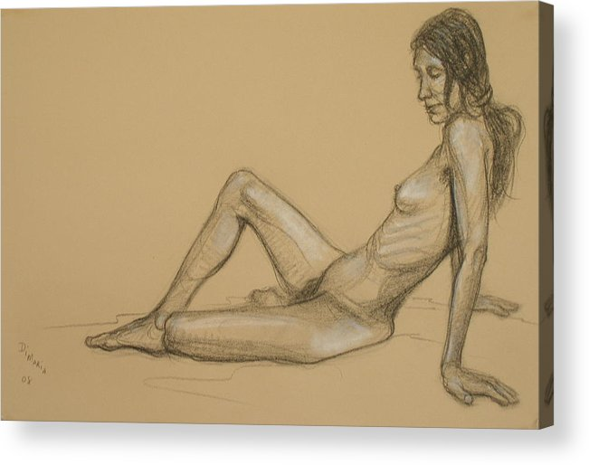 Realism Acrylic Print featuring the drawing Reclining Nude 3 by Donelli DiMaria