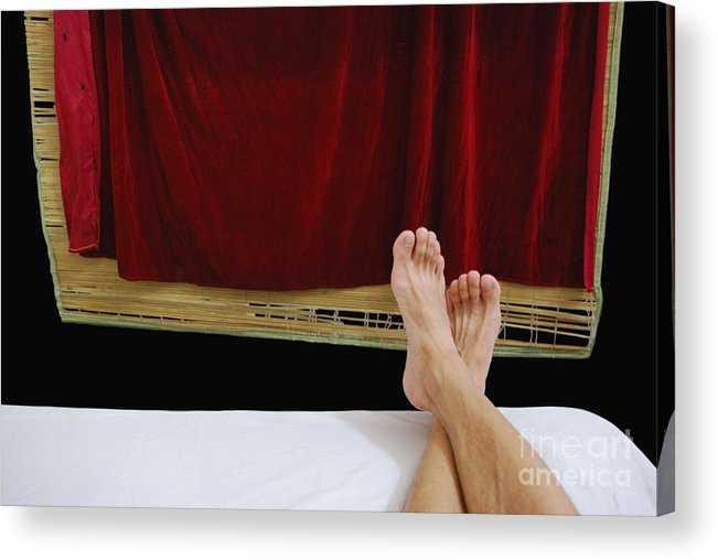 Photograpny Legs Curtain Red Balck White Abstract Acrylic Print featuring the photograph Relax by Ty Lee