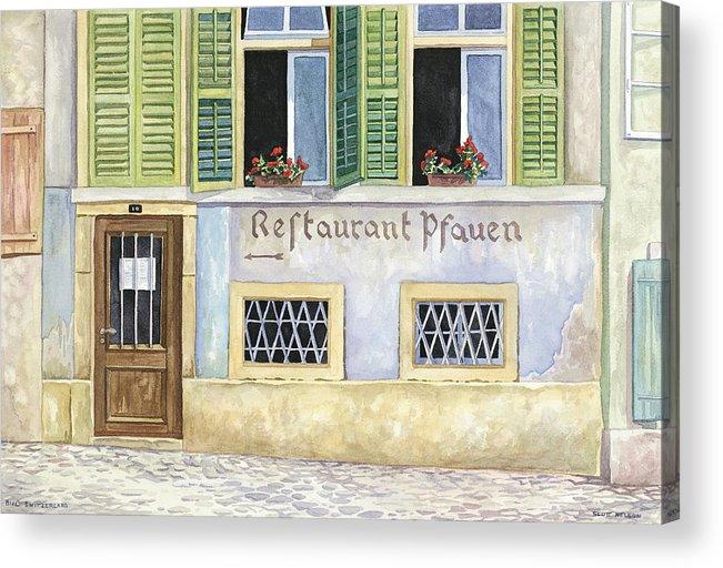 Restaurant Acrylic Print featuring the painting Restaurant Pfauen by Scott Nelson