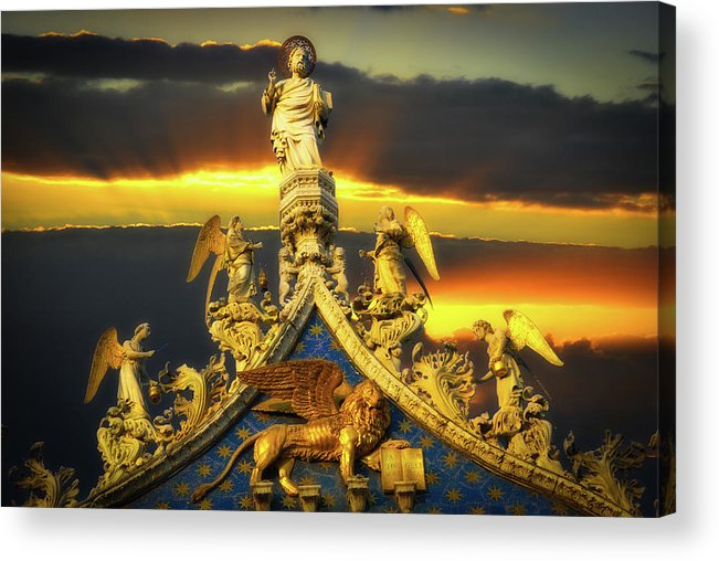 Angels Acrylic Print featuring the photograph Saint Marks Basilica Facade by Harry Spitz