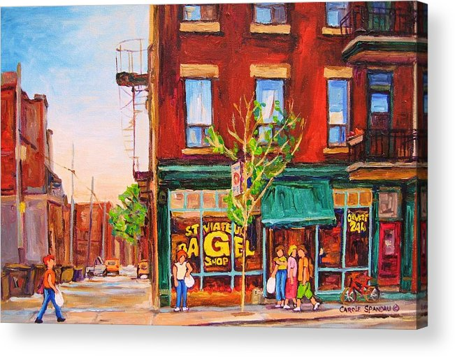 Montreal Acrylic Print featuring the painting Saint Viateur Bagel by Carole Spandau