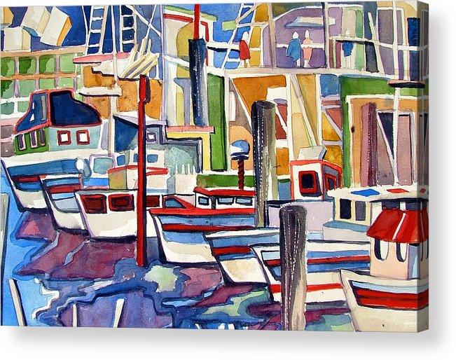 Marina Acrylic Print featuring the painting San Fransico Marina by Mindy Newman