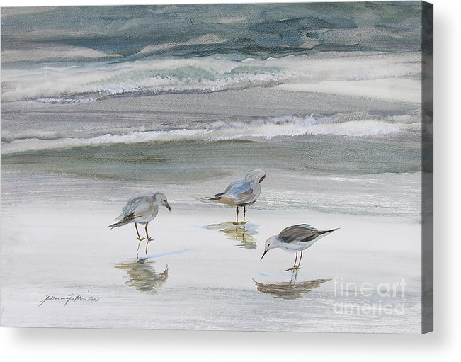 Art Acrylic Print featuring the painting Sandpipers by Julianne Felton