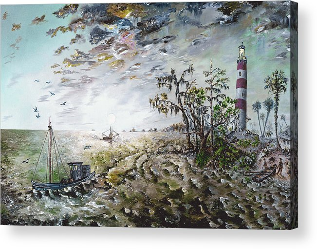 Lighthouse Acrylic Print featuring the painting Sapelo Island by Richard Barham