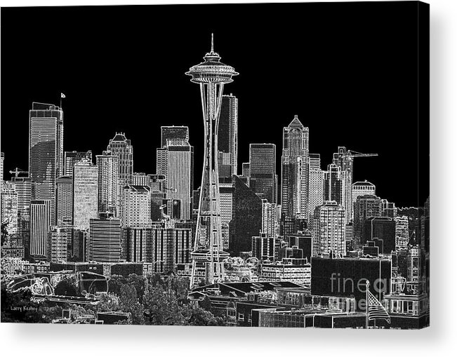 Black And White Acrylic Print featuring the photograph Seattle Black And White by Larry Keahey