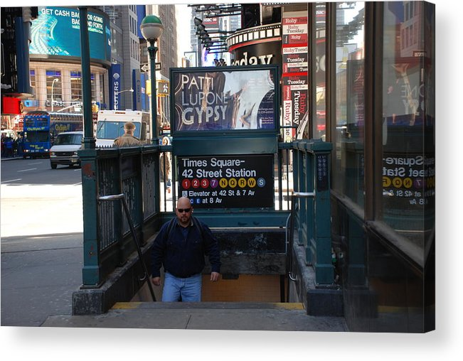 Subay Acrylic Print featuring the photograph Self At Subway Stairs by Rob Hans