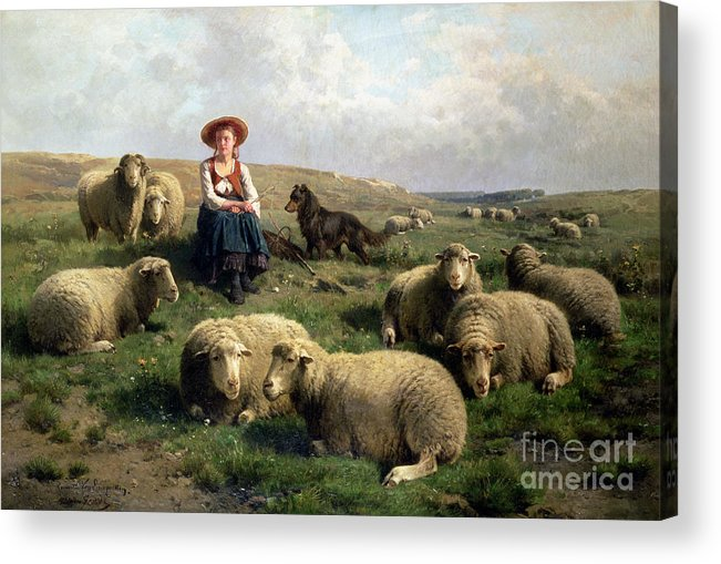 Shepherdess With Sheep In A Landscape By C. Leemputten (1841-1902) And Gerard Acrylic Print featuring the painting Shepherdess With Sheep In A Landscape by C Leemputten and T Gerard