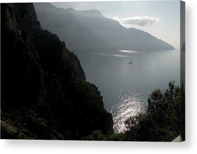 Amalfi Coast Acrylic Print featuring the photograph Silhouetted Mountains And Sea by Charles Ridgway