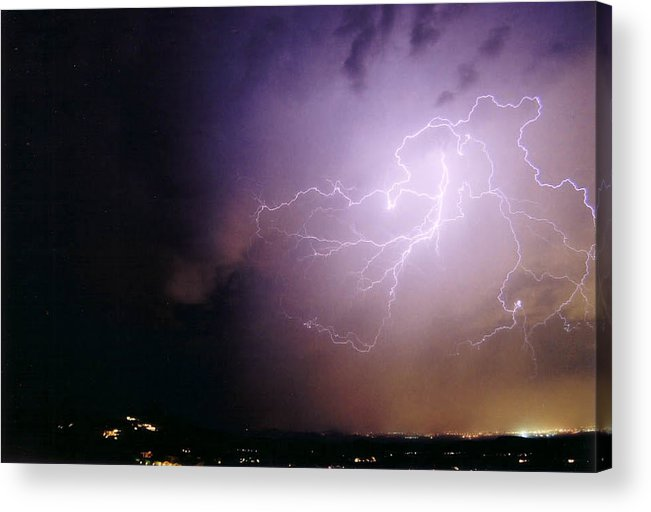 Lightning Acrylic Print featuring the photograph Sky Angel by Cathy Franklin