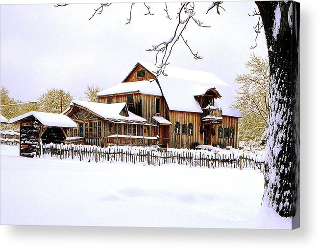 Barn Acrylic Print featuring the photograph Skyland Farms In Winter by Roger Soule