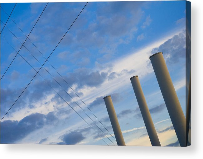 Blue Acrylic Print featuring the photograph Smoke Stax by Skip Hunt