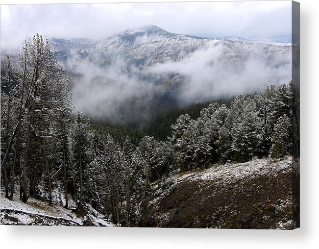 Yellowstone National Park Acrylic Print featuring the photograph Snow And Clouds In The Mountains by Larry Ricker