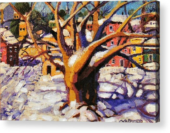 Urban Acrylic Print featuring the painting Snow Day by Jonathan Carter