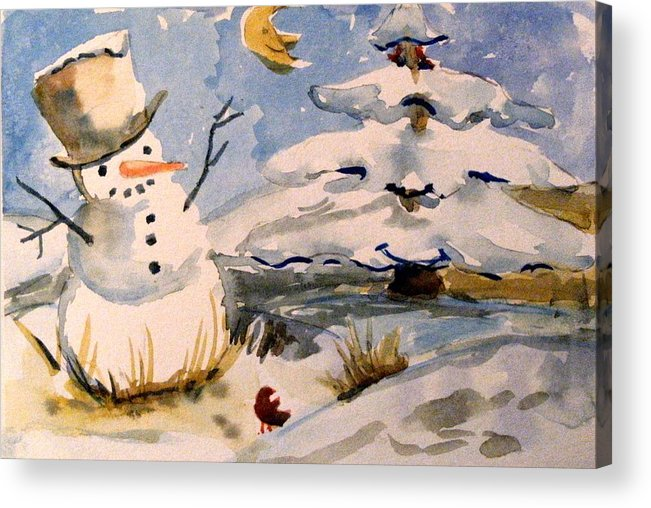 Frosty Acrylic Print featuring the painting Snowman Hug by Mindy Newman
