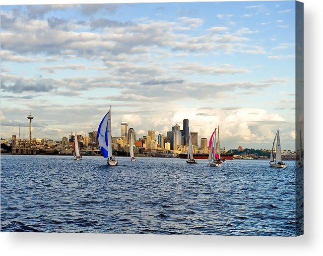 Seattle Acrylic Print featuring the photograph Space Needle Twilight Sail by Tom Dowd