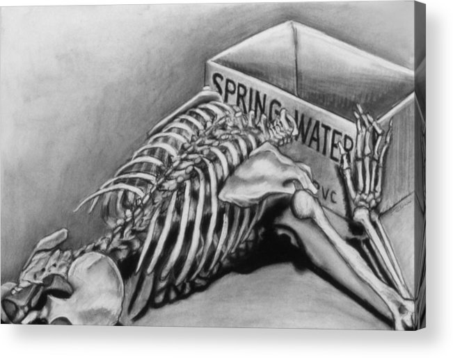 Skeleton Acrylic Print featuring the drawing Spring Water by John Clum