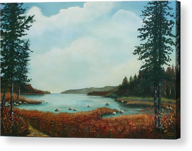 Original Acrylic Landscape Acrylic Print featuring the painting St Annes Bay Nova Scotia by Sharon Steinhaus